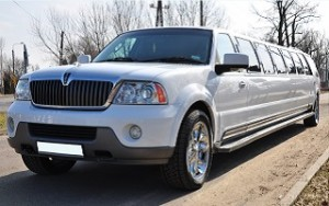 Front view of the White Navigator Limousine in Gdansk Poland