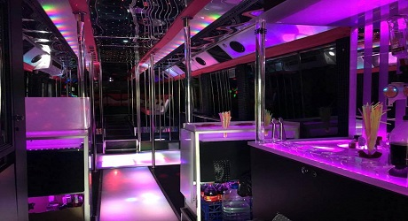 View inside the Party Bus, Barcelona - LimousineTransfer247