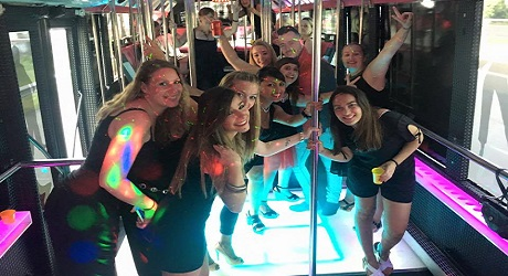 Girls inside the Party Bus, Barcelona - LimousineTransfer247